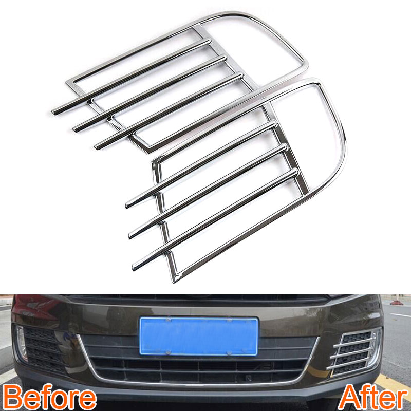 2 Pcs Car Front Fog Light Lamp Cover Frame Grille Trim ABS Decoration For Tiguan 2014