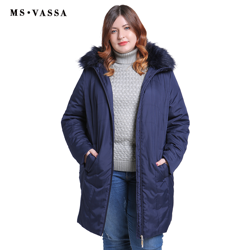 MS VASSA 2018 New Big Size Women Parkas 11XL Winter Padded Women Jacket Worm Hood With Fur Plus Size Casual Coats Outwear women s new winter quilted jacket chunky puffer coat full zip spliced sweater hood padded outwear with knit sleeve