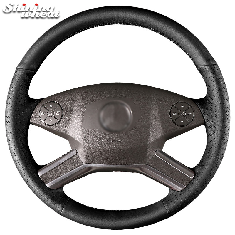 Shining wheat Genuine Leather Car Steering Wheel Cover for Mercedes Benz M-Class 2009-2011 R-Class GL-Class 2010-2012 ML W164 shining wheat black genuine leather car steering wheel cover for fiat bravo 2007 2011