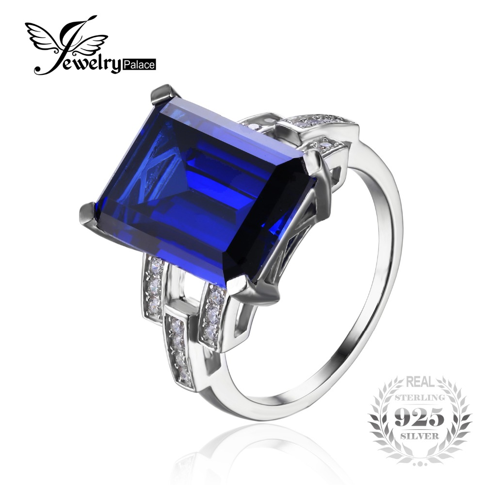 JewelryPalace Luxury Emerald Cut 9.6ct Created Blue Sapphire Cocktail Ring Genuine 925 Sterling Silver Vintage Engagement Rings