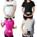 Fashion Pregnant Maternity T Shirts Casual Pregnancy Maternity Clothes With Baby Peeking Out Funny Maternity Shirts 100% Cotton