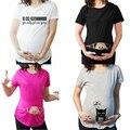 Moda Camisetas Casual Embarazo Ropa de Maternidad de Maternidad Embarazada Con El Bebé Que Mira A Escondidas Divertido Camisetas De Maternidad de Algodón 100%