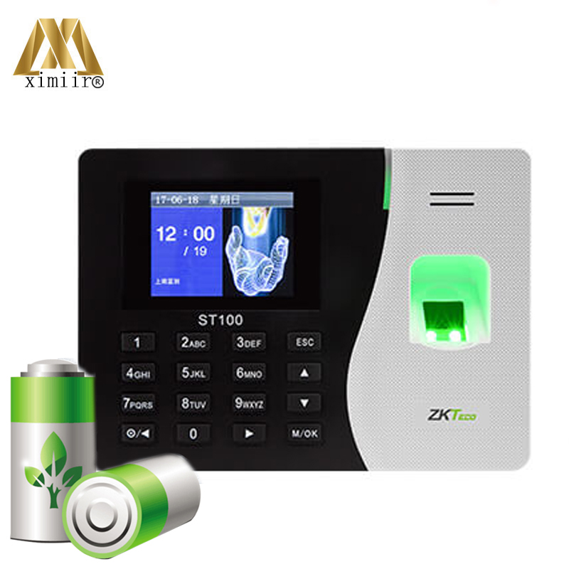 Cheap Hot New Arrival ZK Fingerprint Time Attendance ST100 With Built-in Battery Card Time Recorder Free Shipping