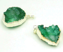 Light Green Crystal Geode Pendant Silver Plated Side About 35-40 mm Long(China)
