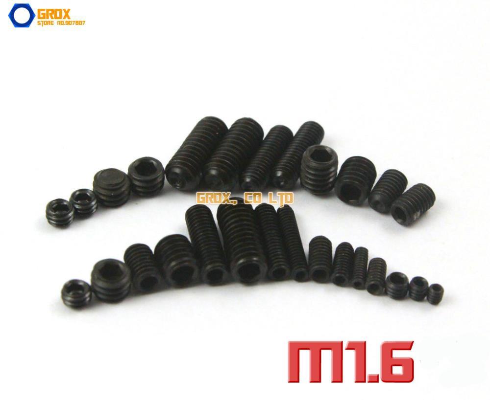 M1.6  Grub Screws Cup Point Hex Socket Set Screw 12.9 Grade Alloy Steel m2 5 grub screws hex socket set screws with cup point alloy steel grade 12 9 black pack 1000