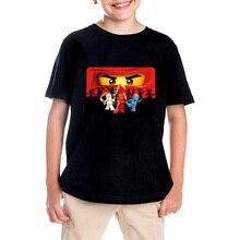 Shirt for boy 2017 summer short sleeve T-shirts for girls cartoon Ninja print hip hop kids brand clothing T-shirt for boy tops