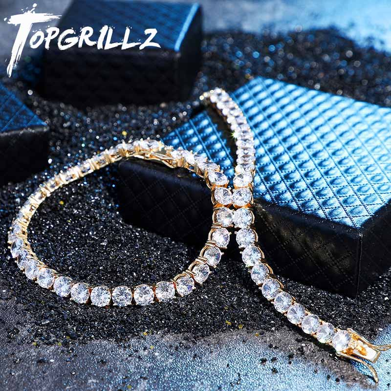 TOPGRILLZ Iced Zircon 3 6MM Tennis Chain Mens Hip hop Jewelry  925 Sterling Silver Gold Lobster Clasp CZ Bracelet Link 7 8 inchChain