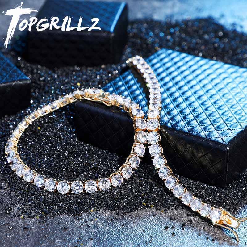 Topgrillz iced zircon 4 & 6mm corrente de tênis hip hop jóias masculinas 925 prata esterlina ouro lagosta fecho cz pulseira link 7 8 polegada