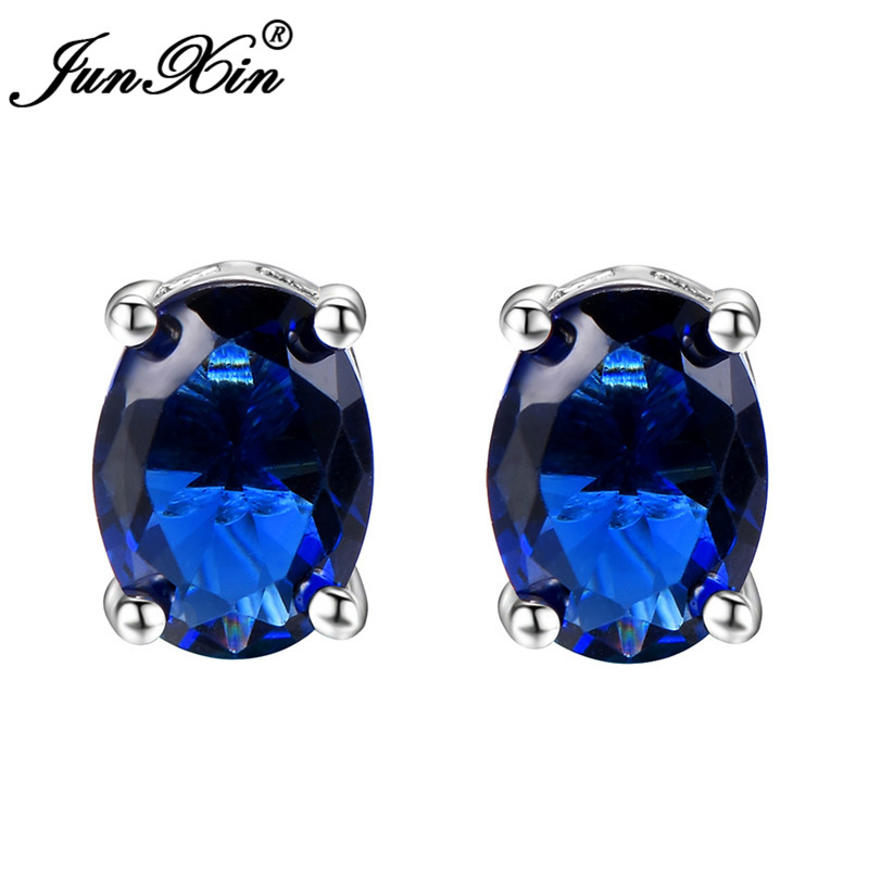 JUNXIN Female Male Blue Zircon Stone Small Oval Stud Earrings For Women Silver Color aaa Zircon Birthstone Studs