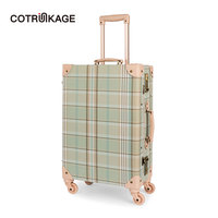COTRUNKAGE 20 24 26 Canvas Plaid Travel Case Cute Lightweight Cabin Suitcase TSA 4 Wheels Vintage Trunk Luggage for Women