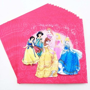 20pcs/set Princess Disposable Paper Napkins for kid girls birthday party supplies happy birthday party Decoration Princess theme image