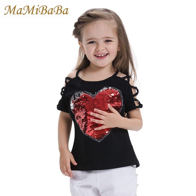 2018 хлопок Лето Обувь для девочек Футболки с Блёстки обесцвечивание детская одежда девушка Рубашка с короткими рукавами футболки Детская фу... ...