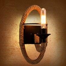 American Personality Round Rope Hemp Wall Light Aisle Balcony Bar Coffee Bedroom Restaurant Iron Art Lamp
