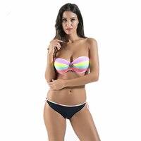 New Arrival Summer Bandeau Bikini Colorful Sexy Biquini Girls Push Up Swimsuit Sweet Women Swimwear Bathing