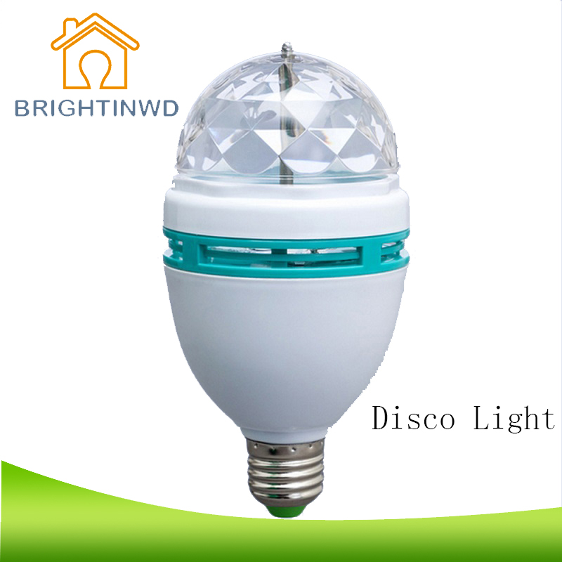 BRIGHTINWD Disco RGB LED Bulbs E27 3W Colorful Auto Rotating Party Lamp KTV Family SHOW Effect Stage Light decora christmas Lamp