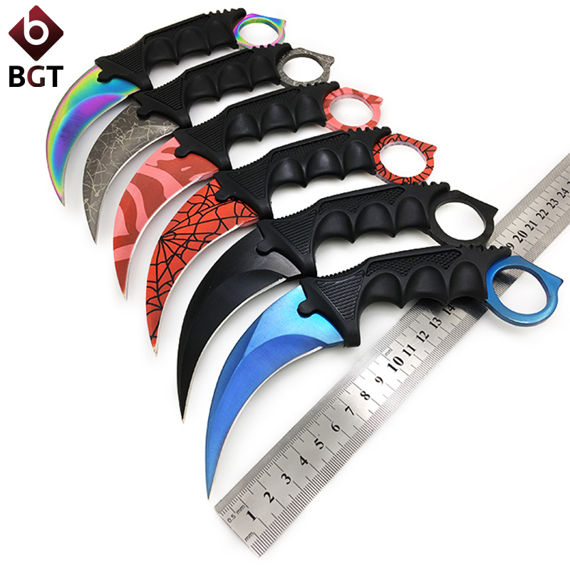 BGT CS GO Hunting Fixed Knife Karambit Tactical Combat Survival Neck Claw Knives Utility Camping Outdoor Pocket Rescue EDC Tools