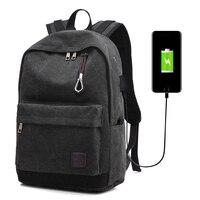 2018 Baellerry USB Charge Port Men Backpack Brand New Canvas School Backpack Back Pack Bag Laptop Backpack
