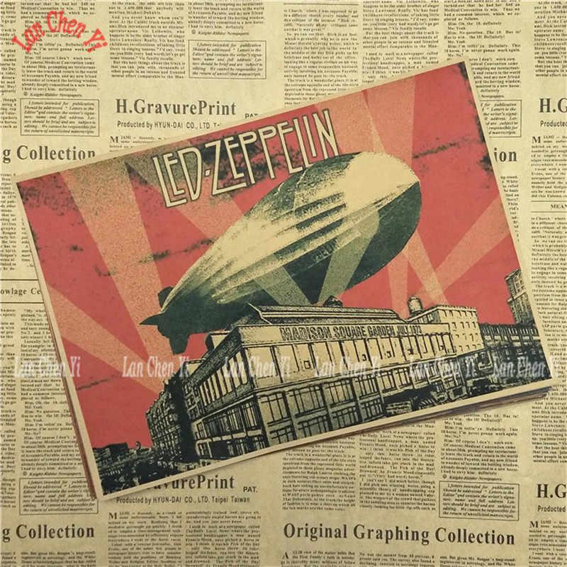 Led Zeppelin Rock Band Musik Kraft Kertas Poster Vintage Kualitas Tinggi Pencetakan Gambar Core Lukisan Dekoratif