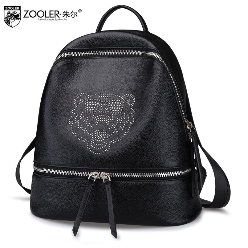 2017 New zooler Superior cowhide Black simple women genuine leather backpack fashion leisure women famous brands