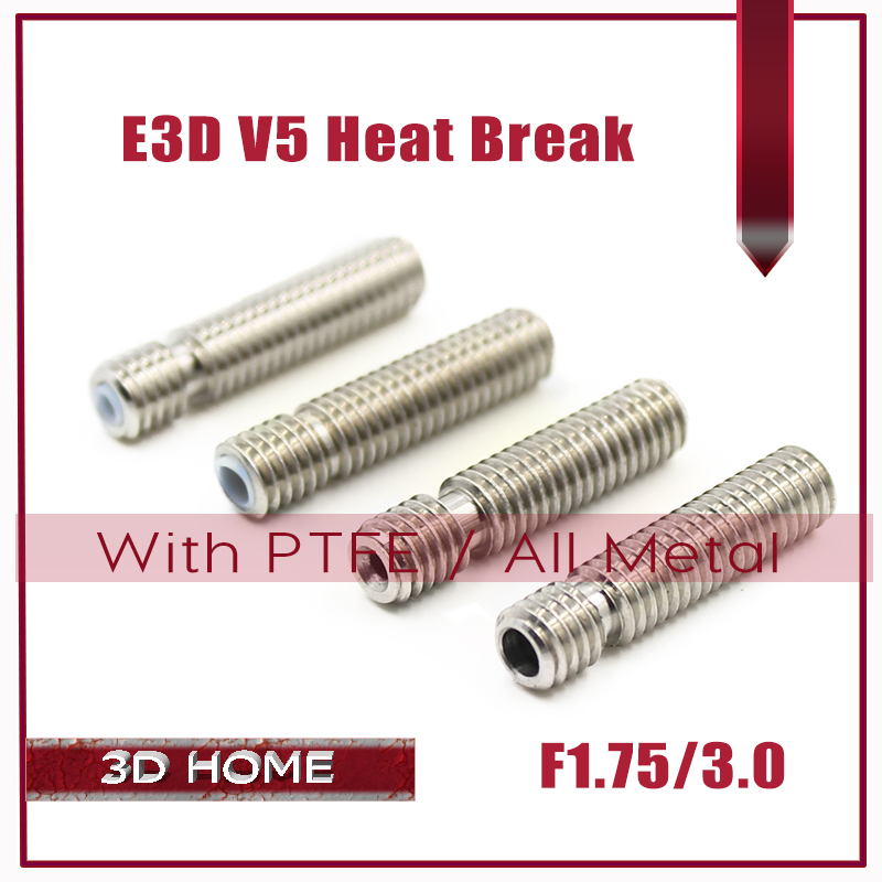 E3D V5 HeatBreak Hotend Throat For 1.75/3.0mm Filament All-Metal/ With PTFE Stainless Steel Remote Feeding Tube Pipes Printer 100pcs stainless steel 3d v5 all metal heat break hotend throat for 1 75mm 3 00mm filament 3d printer free shipping