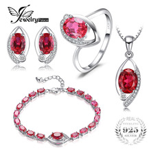 Jewelrypalace глаз создал рубиновое кольцо серьги стержня bracelete кулон Цепочки и ожерелья 925 стерлингов Серебряные комплекты ювелирных изделий 2016 Красивые ювелирные изделия