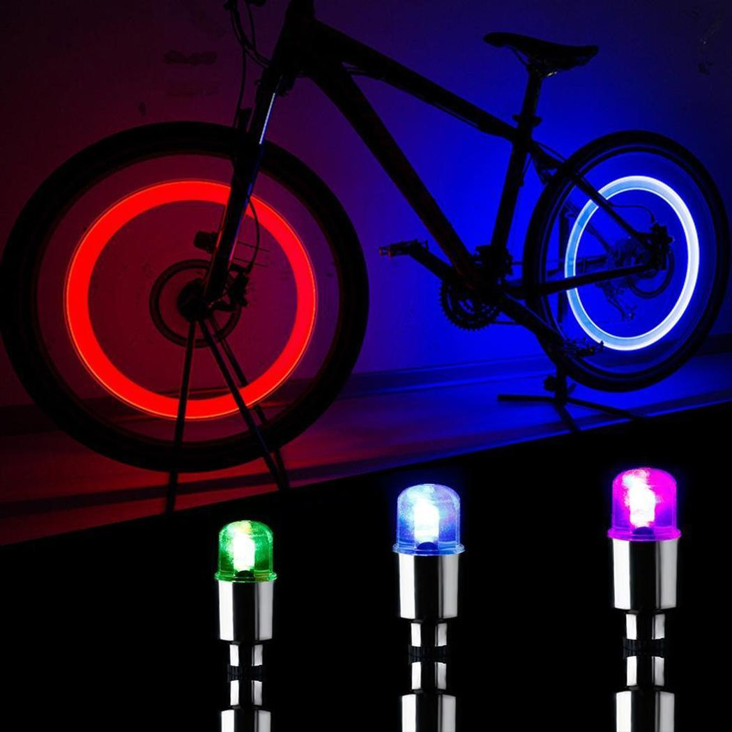 2Pcs Bike Bicycle Car Motorcycle Wheel Tire Valve Stem Cap Neon LED Light part