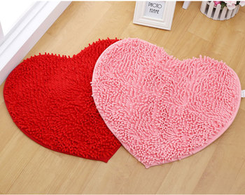 drop Cute Love Heart Shaped Non-slip Soft Microfiber Chenille Fluffy Bathroom Bedroom Floor Rug Carpet Mat red pink image