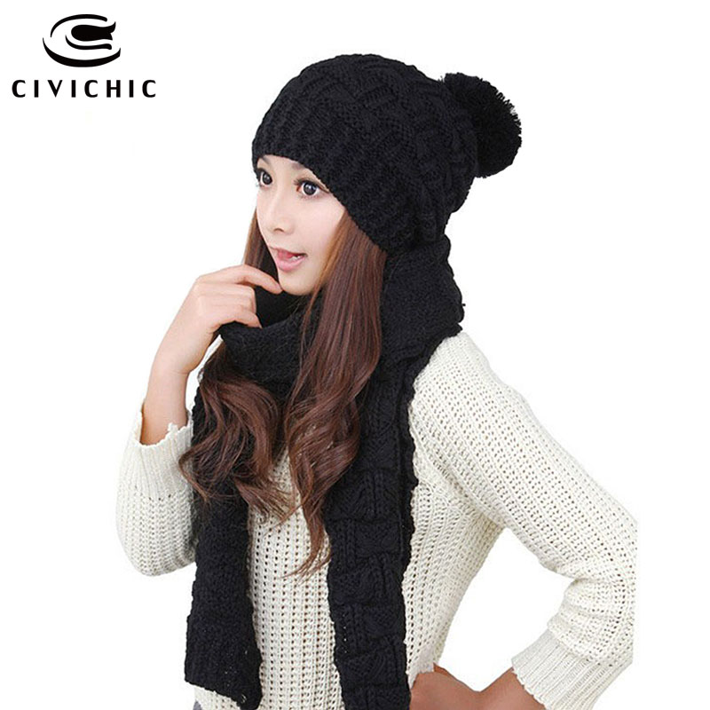 CIVICHIC Hot Fashion Woman Autumn Winter Thicken Scarf Hat 2 Pieces Set Elegant Crochet Warm Knitted Shawl Pompon Beanies SH117