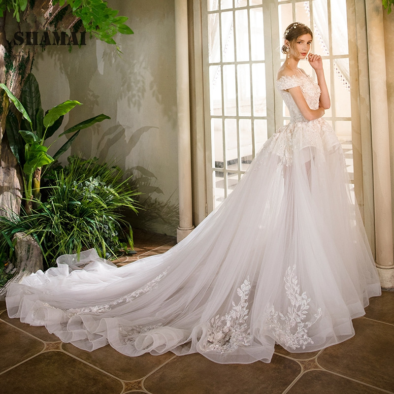 Ruching Wedding Gowns: SHAMAI Robe De Mariee 2019 Wedding Dress Off Shoulder Lace