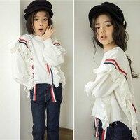 New 2018 Autumn Baby Girl Shirts Stripe Patchwork Fashion Kids Tee Shirts Children Shirts Toddler Cotton Tops Comfortable,#3254