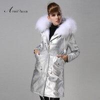 Free Ship Winter Women Fur Mrs Coat 2014 New Brand Fashion Jacket Luxury Raccoon Fur Collar