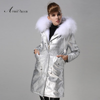free ship winter women fur mrs coat 2014 new brand fashion jacket luxury raccoon fur collar overcoat warm fur lined slim parka