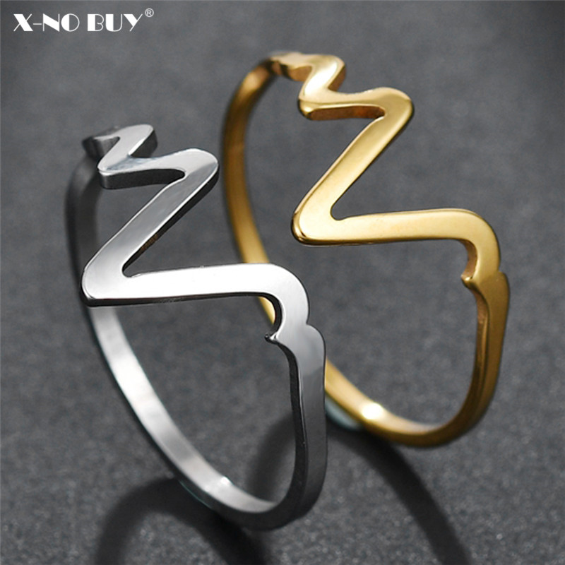 New Simple Stainless Steel ECG Ring For Women Jewelry Gold Silver Titanium Electrocardiogram Heart Beat Rings Female Party Gifts image