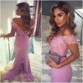 Promoción de La Sirena vestidos de Noche 2017 Sexy V Cuello Apliques de Encaje cap manga larga árabe vestido de noche vestido de prom dress festa