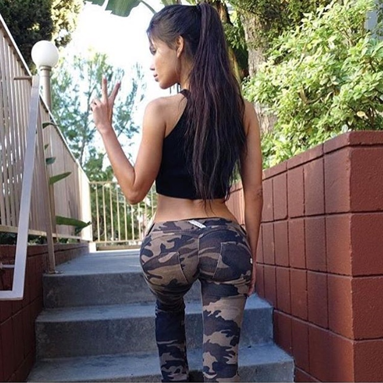 Winter Peach Buttocks Pants Camouflage Sports Pants Female Quick-drying Air Tight Ass Lift The Yoga Pants Up barra de porta