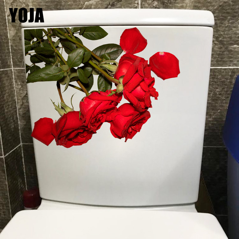 YOJA 23.4*18.2CM Beautiful Red Rose Fashion Home Living Room Wall Stickers Mural Toilet WC Decor T1-0904