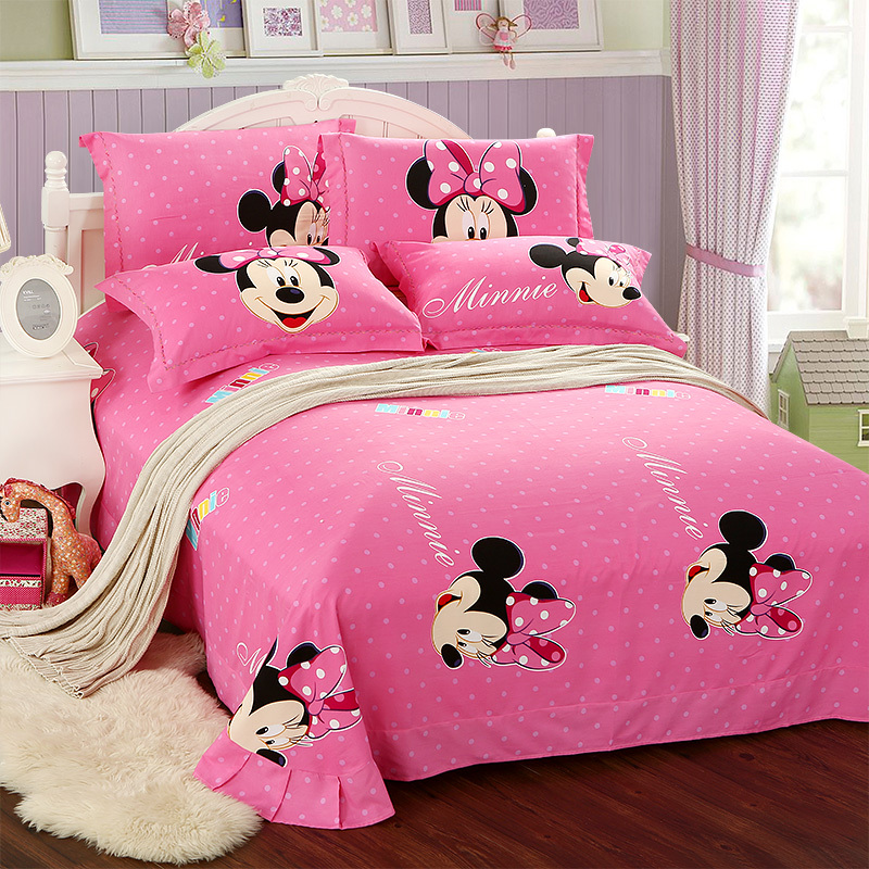 kids christmas Pink minnie mouse comforter set twin full queen king size  bedding set Oil printing Girls cotton bed sheets duvet in Bedding Sets from  Home. kids christmas Pink minnie mouse comforter set twin full queen