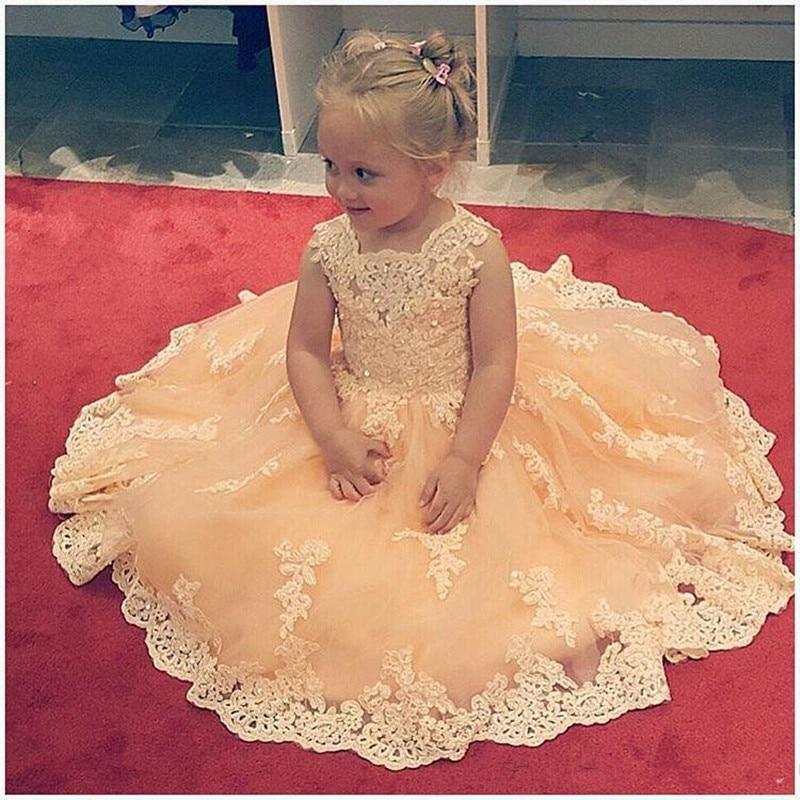 New Ball Gown Lace   Flower     Girl     Dresses   Kids Christmas   Dress     Girls   First Communion   Dress