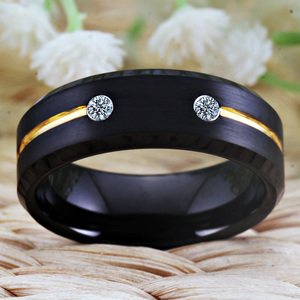 Image 4 - Tungsten Wedding Band Engagement Rings For Women Classic Mens Black Tungsten Ring Golden Groove CZ inlay Anniversary Gift Ring