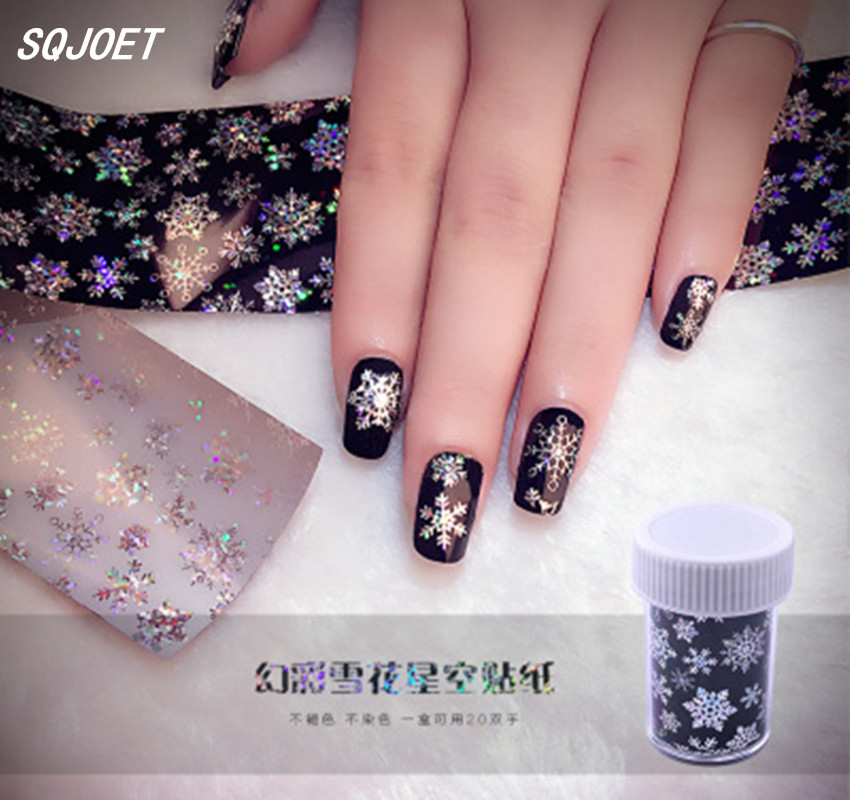 New star stickers on 3D fantasy snowflake patterned nail stickers, bottled nail stickers DIY nail 3D stickers on migration and fantasy