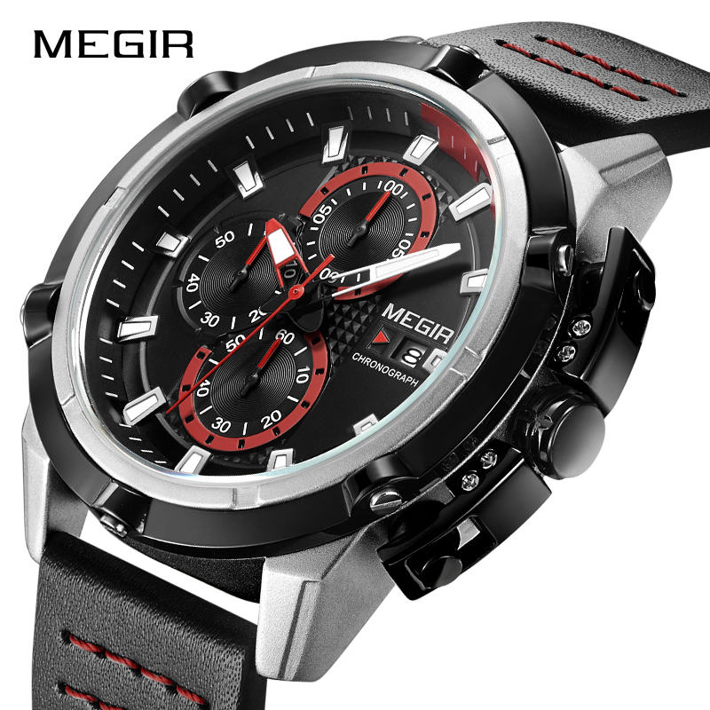 MEGIR Creative Sports Wristwatches Men Fashion Top Brand Quartz Watches Clock Male Luxury Waterproof Watch Man Relogio Masculino men fashion quartz watch mans full steel sports watches top brand luxury cuena relogio masculino wristwatches 6801g clock