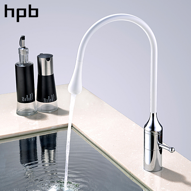HPB Brass Chrome Rotatable Kitchen Water Tap Single Handle Sink Mixer Hot And Cold Faucet White Color Contemporary Style hpb brass chrome bathroom basin waterfall faucet sink mixer single handle hot and cold water square style hp3049