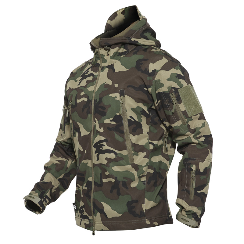 Dropshipping Outdoor Tactical Military Softshell Fleece Jacket Men's Waterproof Hunting And Hiking Jacket Warm Hooded Army Coat