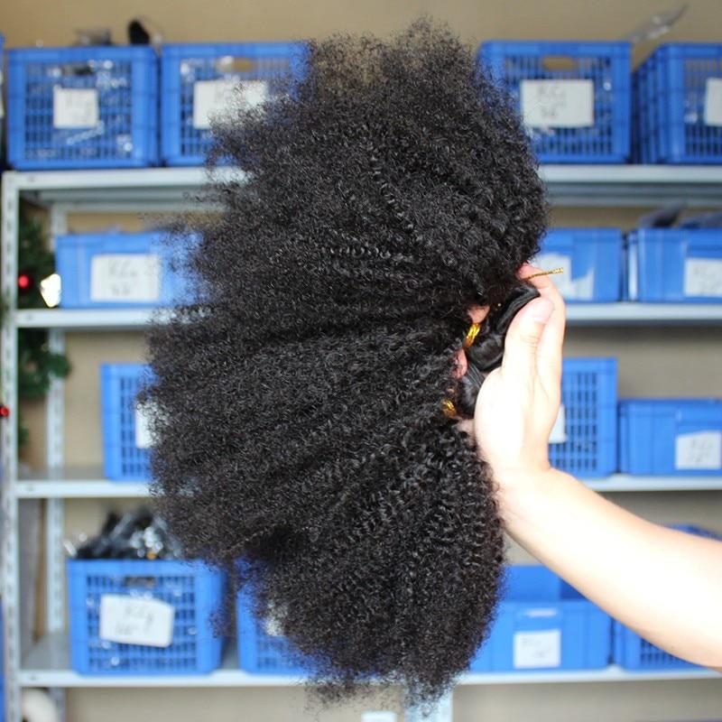Mongolian Afro Kinky Curly Hair Bundles 100% Human Hair Bundles 4B 4C Natural Black Weave Extensions 3 Bundles Remy Comingbuy 3