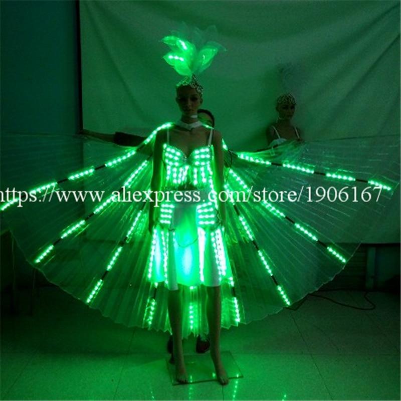 Moda Kolorowe Led Luminous wieczorowa sukienka wieczorowa Seksowne kobiety Rozświetlają kostiumy sceniczne na imprezę klubową Bar Halloween