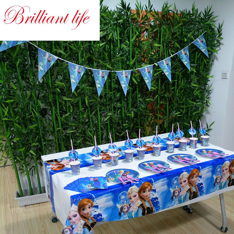 Paper Tableware Disney Elsa Anna Theme 252pcs Girl Birthday Party Cup Plate Gift Bag Blowout Horn