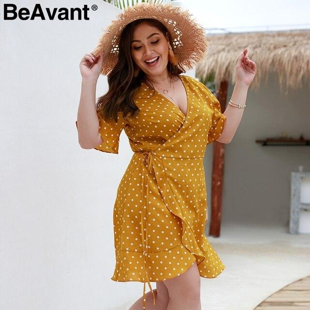 BeAvant Polka dot casual women dress plus size V neck sashes summer dresses 2019 Elegant flare sleeve mini short dress vestidos 2