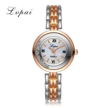Lvpai de las mujeres de la marca de lujo de oro rosa pulsera de cuarzo  reloj de pulsera de las señoras de moda de cristal de acero inoxidable  vestido ... 8922ccbc6a87