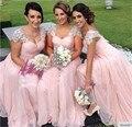 Pink Bridesmaid Dress 2016 New Arrivals Cap Sleeve Party Dress Vestido Longo Simples Cheap Long Bridesmaid Dress