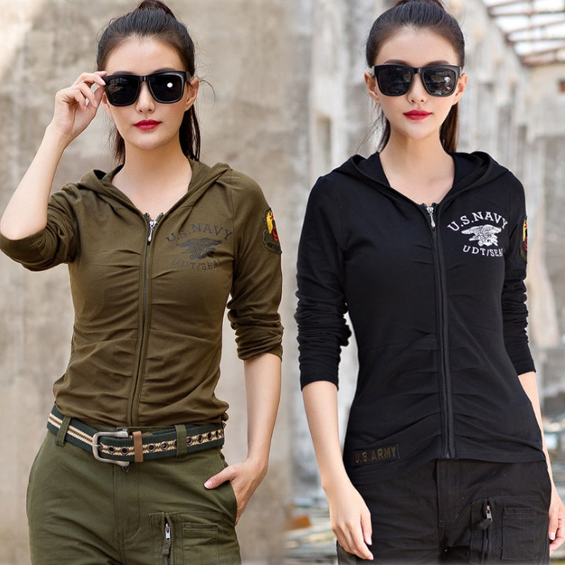 New Women Casual T shirt Hooded Stretch Long Sleeve T shirt Female Out Army T shirt